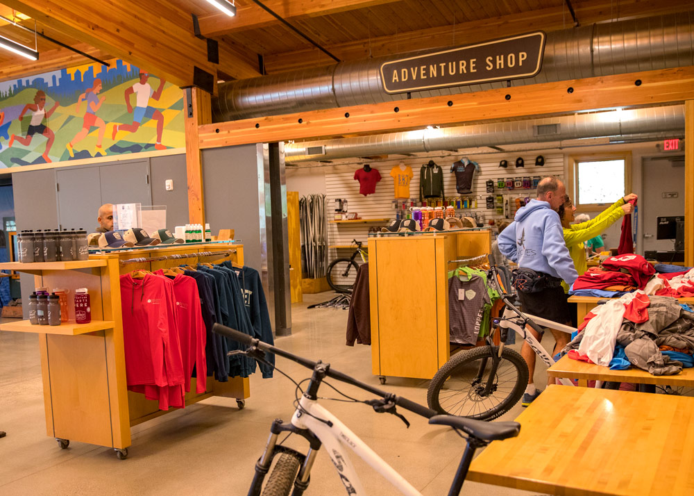 Equipped with a rental bike shop, fitness area, numerous meeting areas, and a restaurant, The Trailhead serves as a basecamp for all kinds of outdoor enthusiasts.