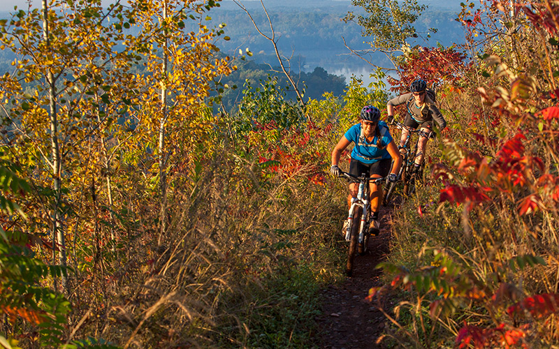 While Cuyuna is a popular riding destination year-round, fall is an especially beautiful time of year to schedule your visit. <i> Photo by Aaron W. Hautala </i>