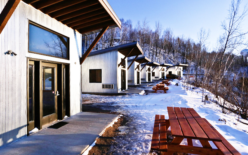 The cabins at True North Basecamp are within walking distance of the trails and a great option for any-season accommodations. <i> Photo courtesy of 45NRTH </i>